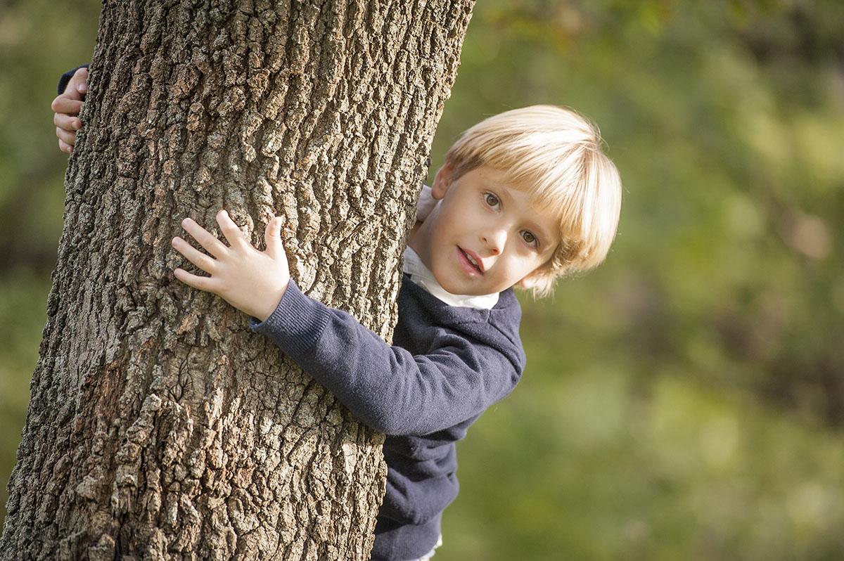 bambino si nasconde dietro albero